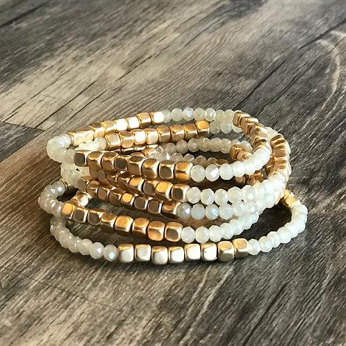 Crystal & Gold Bracelet Set
