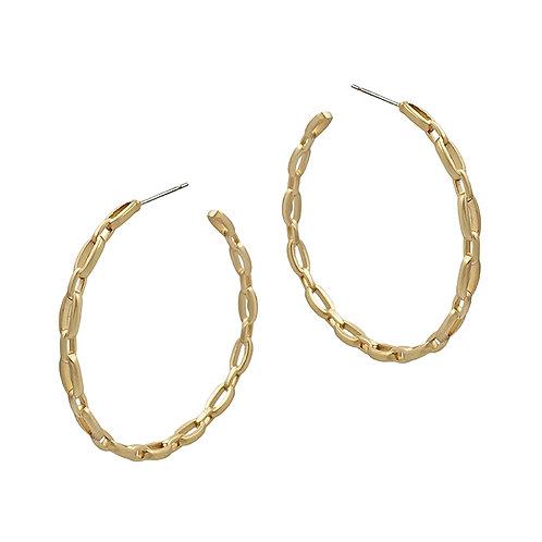 Matte Link Chain Hoop Earring