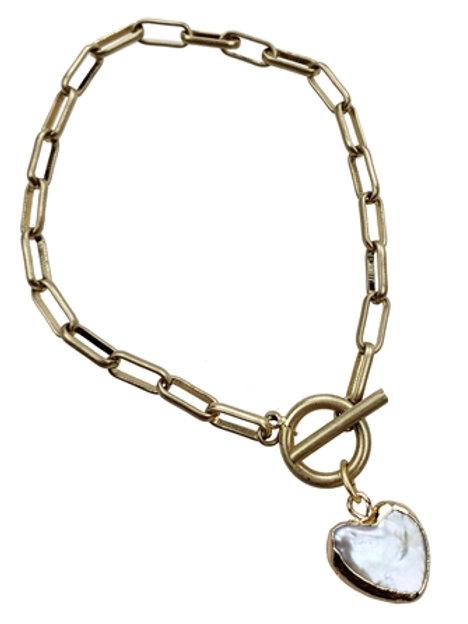 Fresh Water Pearl Heart Bracelet