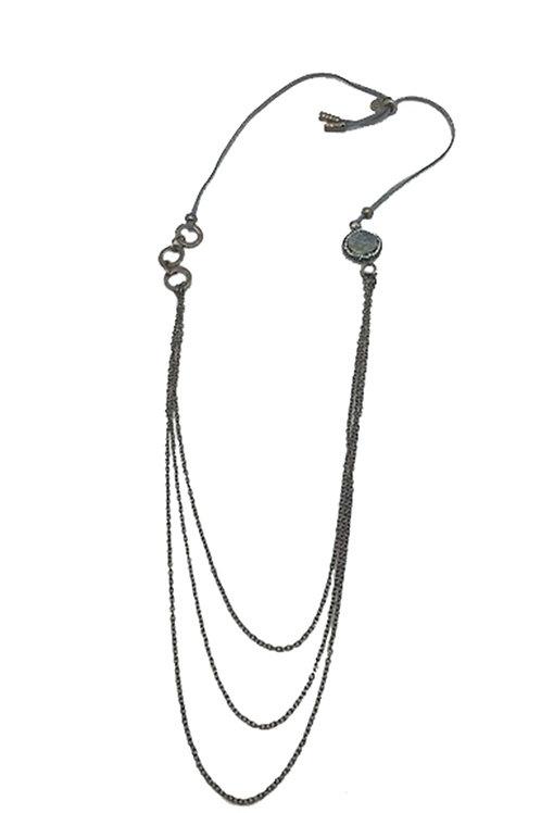 Faux Grey Suede w/Stones Necklace
