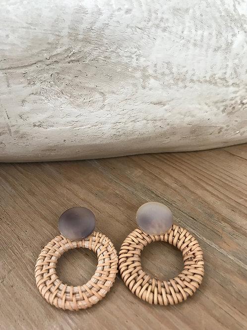 Acrylic/Rattan Earring