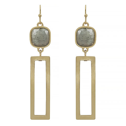 Natural Stone Rectangle Earring