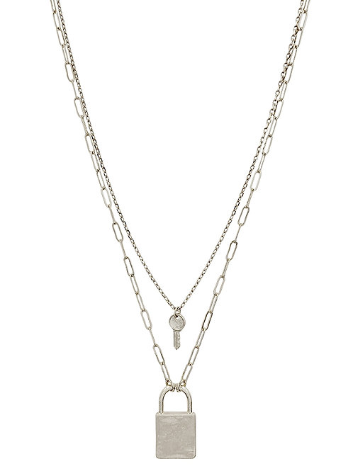 Layered Lock & Key Necklace