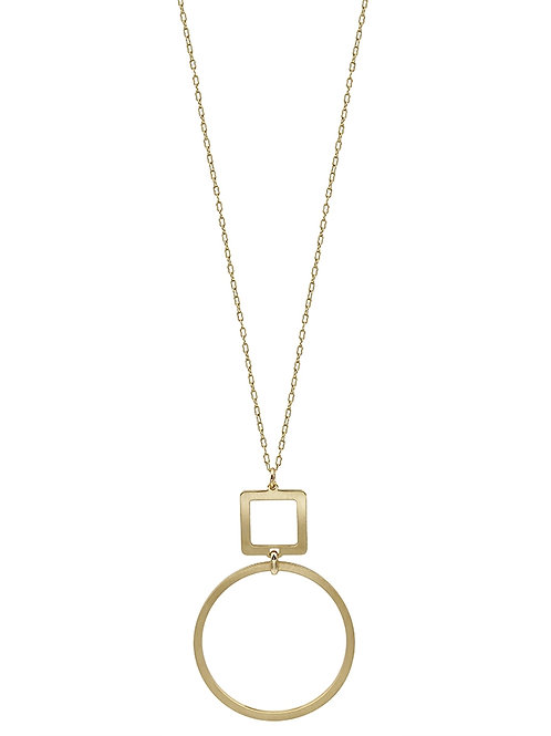 Square & Circle Drop Necklace