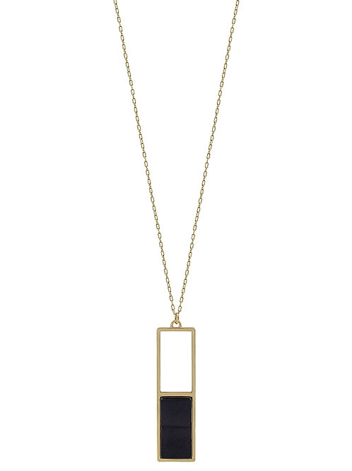 Rectangle w/Stone Necklace