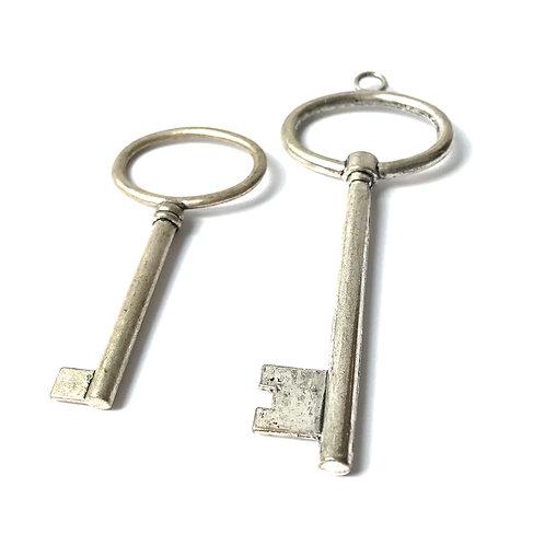 Silver Key Charm