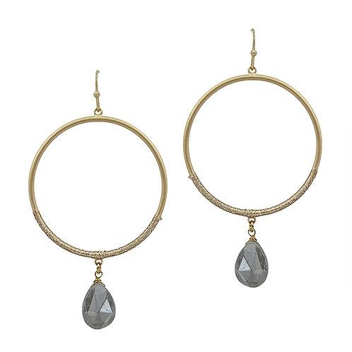 Hoop w/Natural Stone Earring