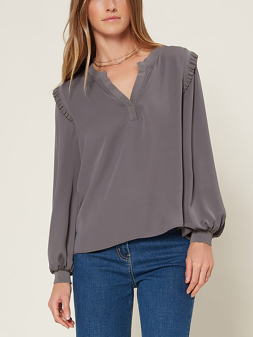 Contrast Ribbed Detail Blouse