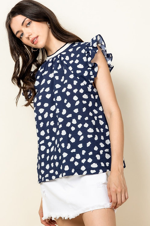 Spotted Flutter Sleeve Top