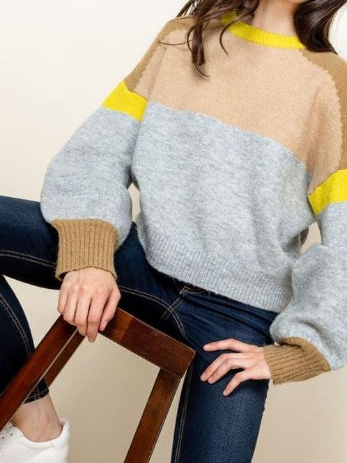 Bright Color Block Sweater