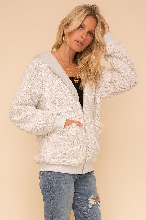 Two-Tone Fur Hoodie Jacket