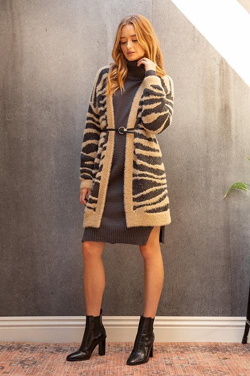 Zebra Texture Sweater Cardigan