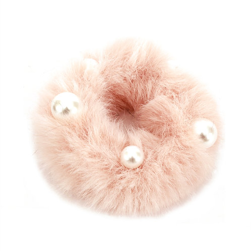 Faux Fur Scrunchie w/Pearls