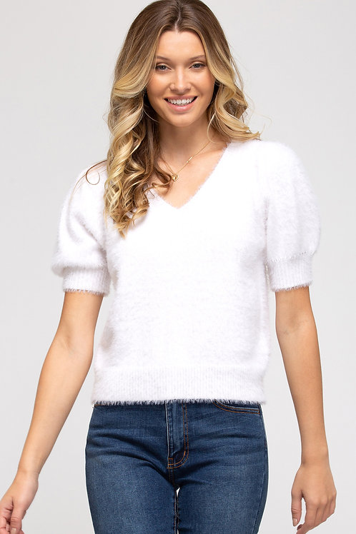 Eyelash Bubble Sleeve Sweater