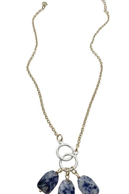 Blue Gemstone Drops Necklace
