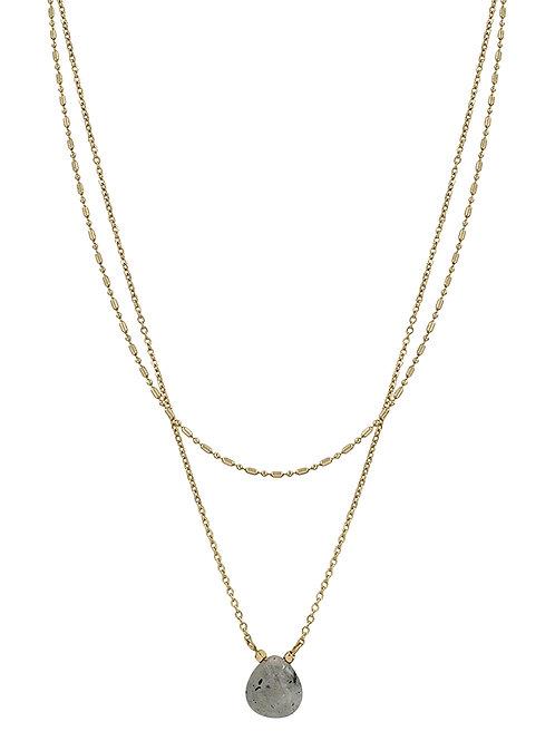 Layered Chain w/Natural Stone