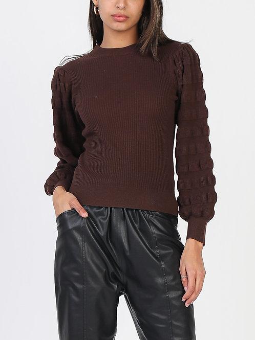 Textured Balloon Sleeve Sweater