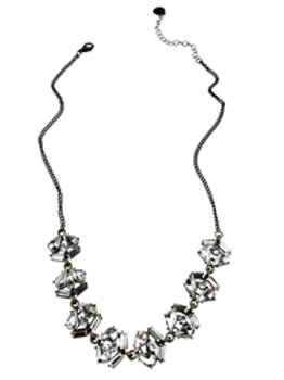 Antique Bronze Crystal Flowers Necklace