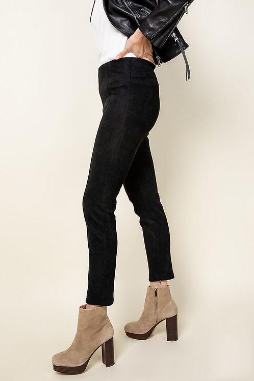Faux Suede Ankle Zip Pants