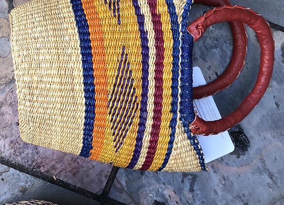 Small oval Bolga tote-Afrika, colors