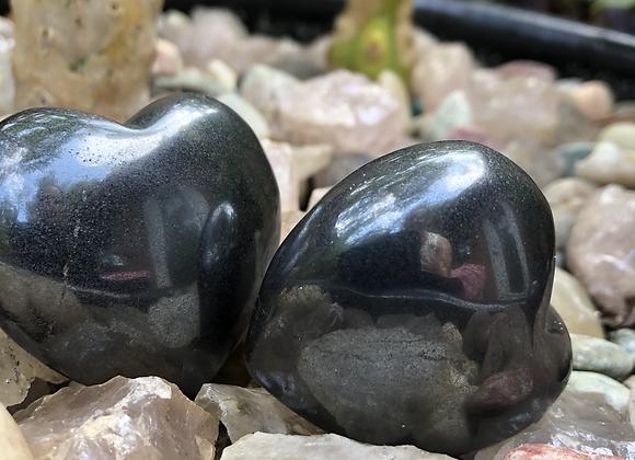 Hematite puffy heart