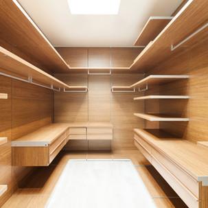 חדר ארונות מעץ