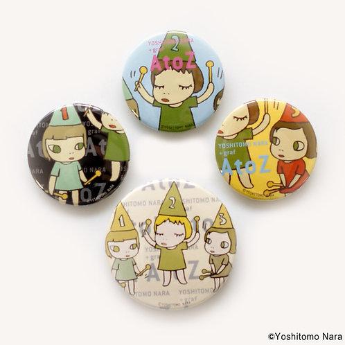 [ Yoshitomo Nara Product ] Yoshitomo Nara A to Z Button Badge Set of 4