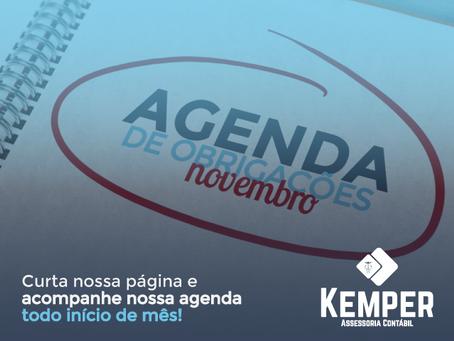 Agenda de Obrigações de Novembro