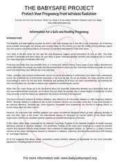 Baby Safe Project Info Sheet