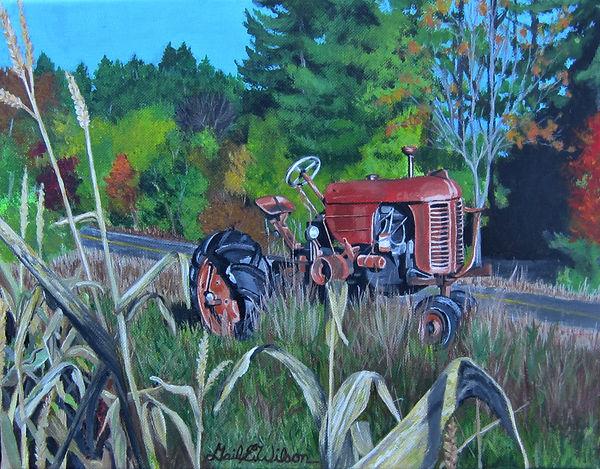 Tractor, Autumn, Corn Stalks