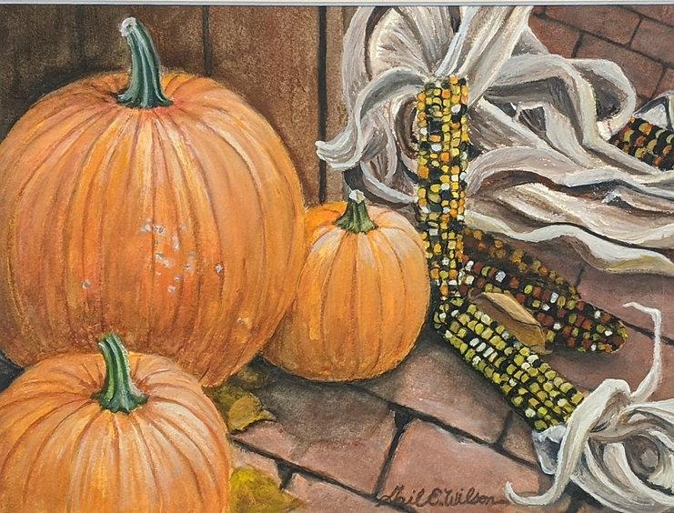 Pumpkins, Indian Corn, Still Life