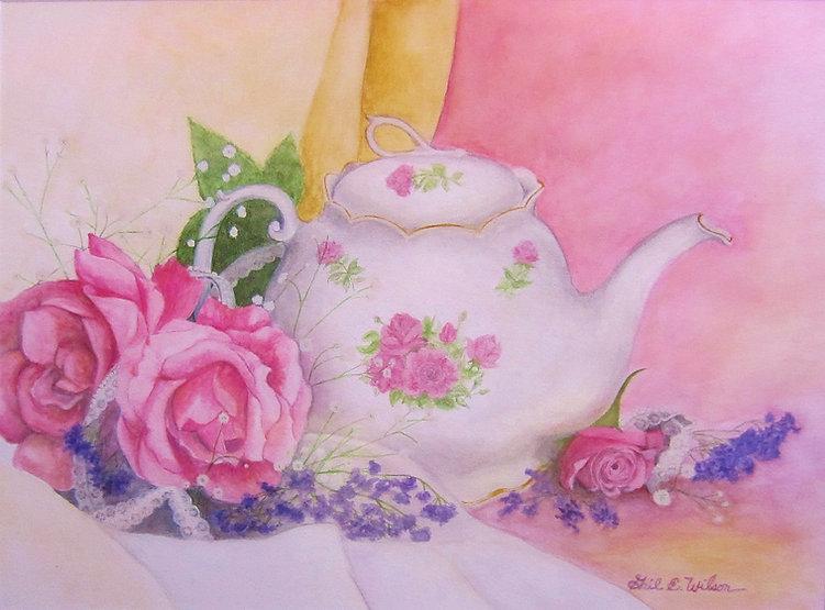 Teapot, Roses, Still Life