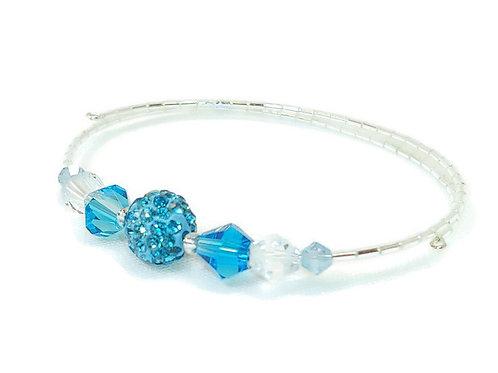 Aqua Crystal Bling Anklet