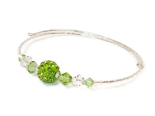 Bright Green Crystal Bling Anklet
