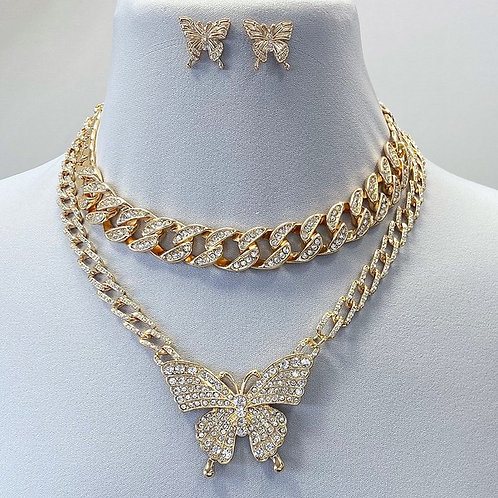 BUTTERFLY THREE PIECE NECKLACE SET