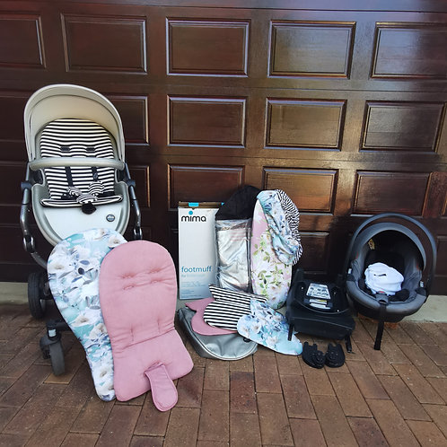 Mima Xari Stroller + Be Safe izi go x1 car seat and izofix base