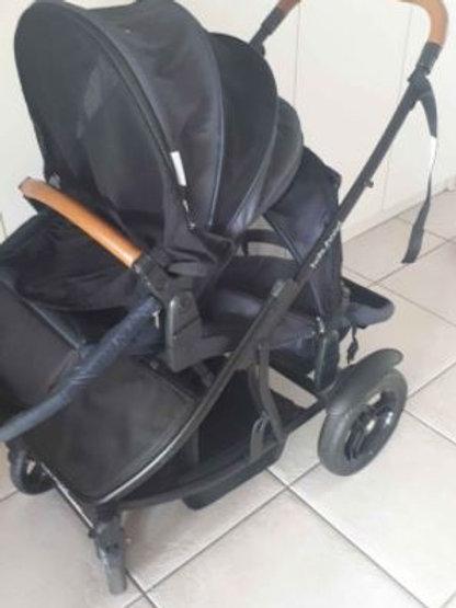 Babyhood Doppio Twin Pram, including seat adaptors for Joie car seats, canopies,