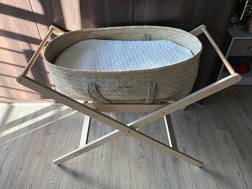 Ko-Coon boho basket with macrame handles and Ko-Coon adaptable foldable stand
