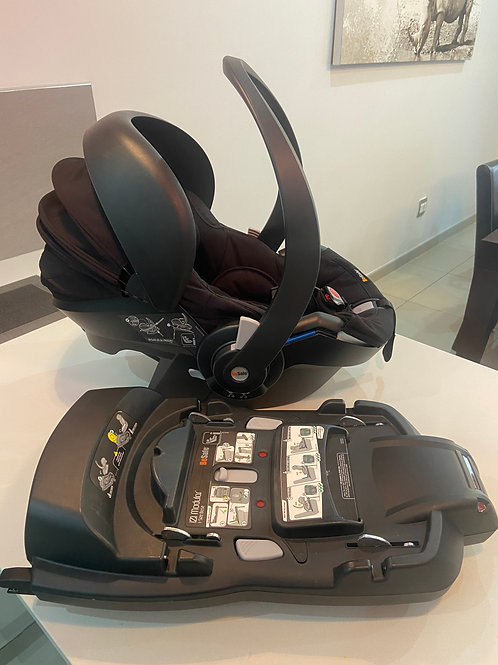 Be Safe izi go Modular Car Seat + Isofix Base and a brown leather Mima cover