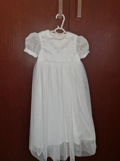 Long White Christening Dress 3-6 MONTHS