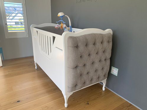 CPT SALE ONLY-Cot to toddler bed, feeding chair with foot stool, side table