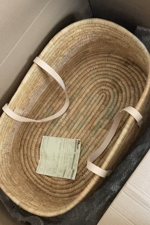 Ko-Coon Moses Basket with Nude leather handles