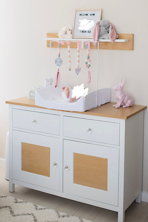 BABY BELLE Cot (convertible into toddler bed), compactum and wall shelf