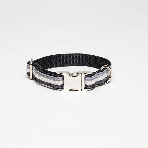 grau, schwarz gestreiftes Textil Hundehalsband, top dog cool cat, Vienna