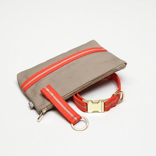 praktisches set aus Hundehalsband, Necessaire, Schlüsselanhänger, beiger Baumwolle Canvas