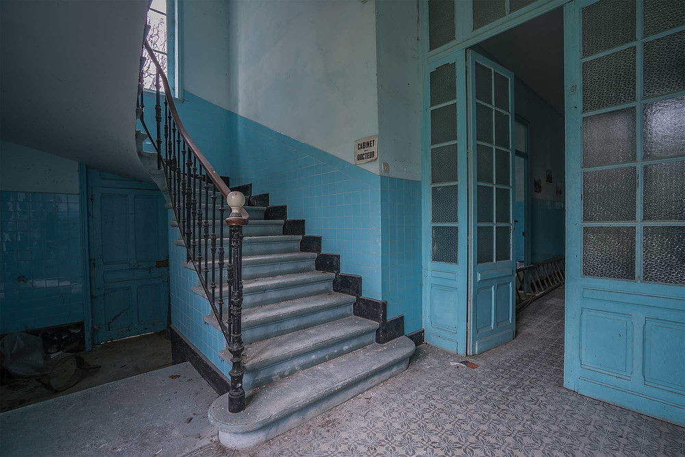 Blue tiles at Les Thermes Blues abandoned spa in France