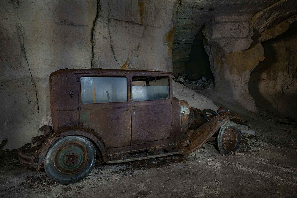 Abandoned car in mine in France