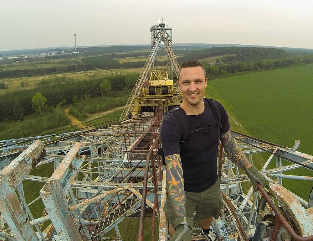 Selfie at abandoned bucket wheel excavator