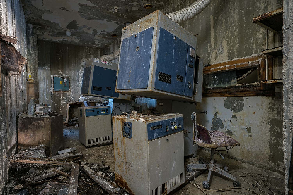 Movie projector at abandoned school