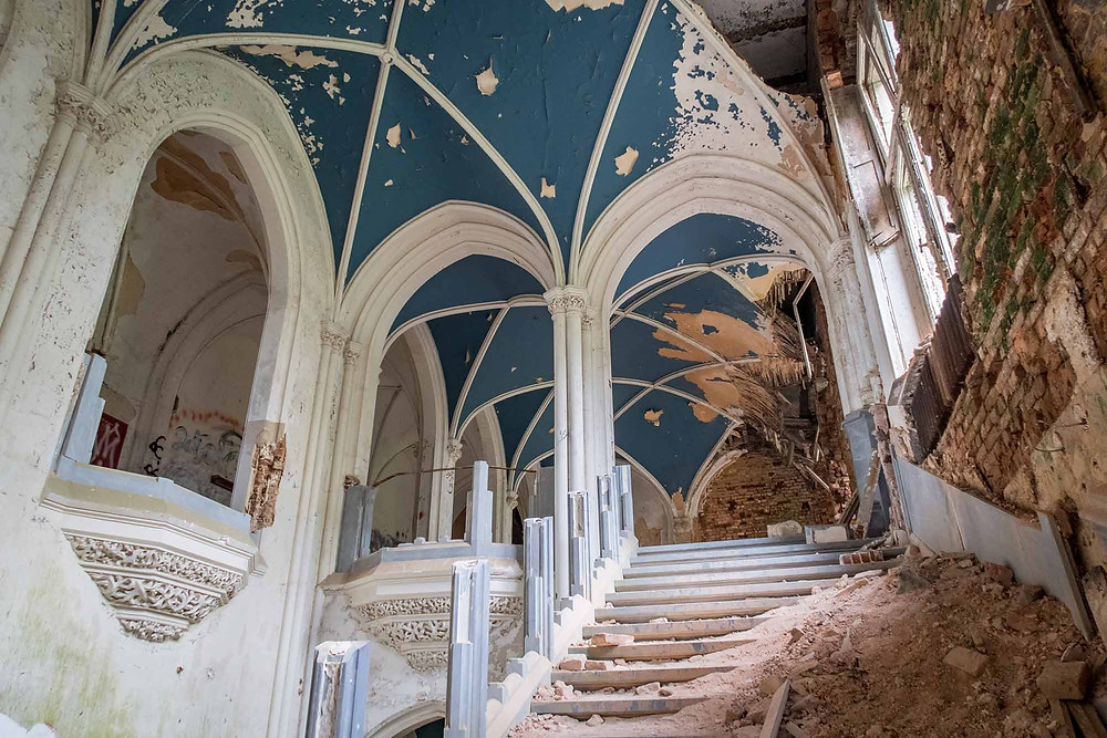 Abandoned castle with natural decay